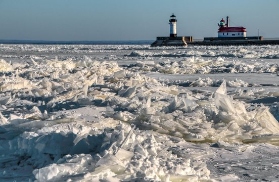 Frozen Lake Superior in Duluth, Minnesota