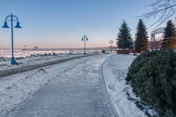 Frozen Lake Superior in Duluth, Minnesota