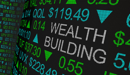 Wealth Building Stock Market Scrolling Prices Ticker 3d Illustration