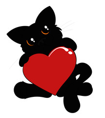 Cute Black Cat with Red Heart