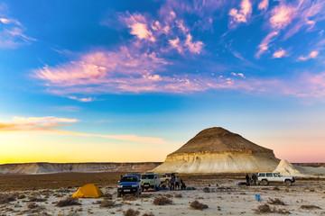 A stunning sunset view of the Giant Stone Yurt, Bozzhira, Mangystau, Kazakhstan
