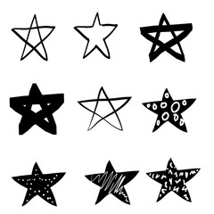 hand drawn vector stars in doodle style