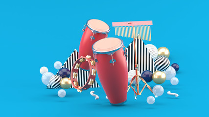 eb9270618 Percussion on colorful balls on blue background.-3d rendering.