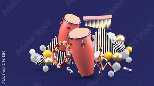 b17baa05e Percussion on colorful balls on purple background.-3d rendering ...
