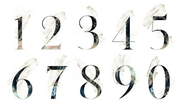 Abstract Numbers Font Set - textured digits 1, 2, 3, 4, 5, 6, 7, 8, 9, 0 composition with brush strokes. Unique collection for wedding invites decoration & many other concept ideas.