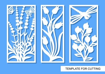 Set of decorative panels with flowers, lavender, tulips, berries, butterflies and dragonfly. White objects on a blue background. Template for laser cutting, wood carving, paper cut or printing.