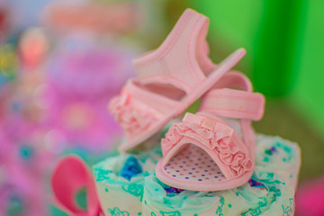 baby diaper cake close up shoe baby toddler small tea