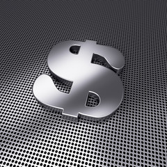 Sign of dollar on metal perforated ground. 3d