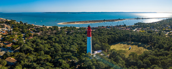 Aerial wiev, Lighthouse of Cap Ferret in Arcachon bay Fototapete