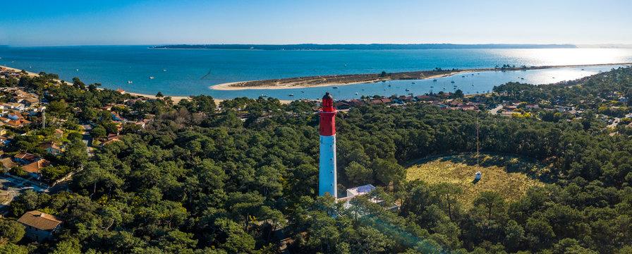 Aerial wiev, Lighthouse of Cap Ferret in Arcachon bay