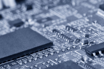 Printed circuit board close up for background Toned image