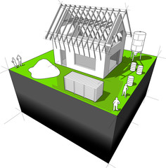 3d illustration of simple detached house with wooden roof framework