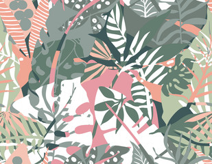 Vector seamless pattern with tropical plants and hand drawn abstract textures