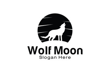 Wolf Moon Logo Design Template