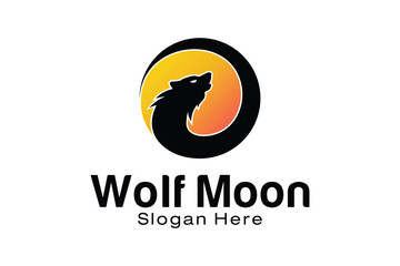 Wolf Moon Logo Design Template