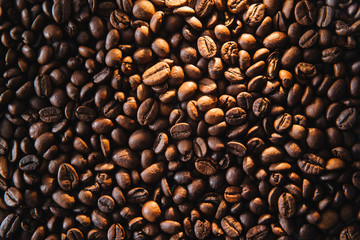 Roasted coffee beans background.