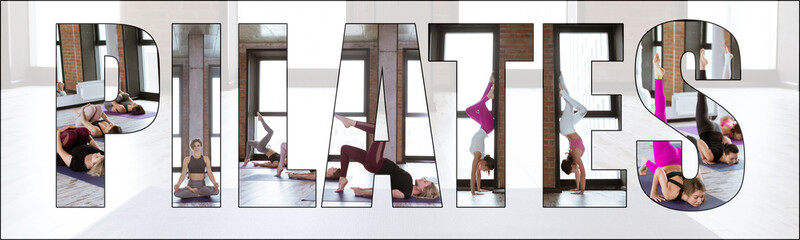 Collage of pilates training, stretching and fitness. Diverse group of young people doing exercises together in a gym with an overlay of the word pilates.