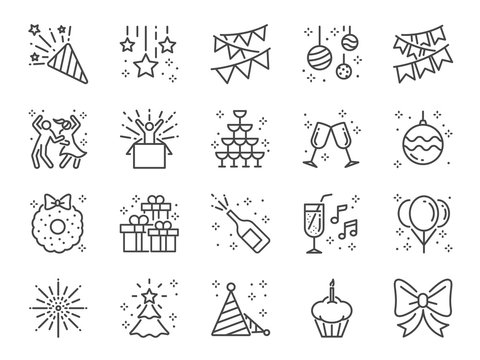 Party line icon set. Included icons as celebrate, celebration, dancing, music, congrats and more.