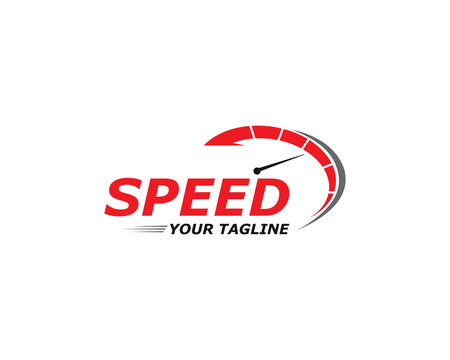 Speed logo faster template vector icon illustration