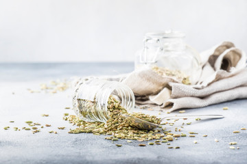Fennel seeds in a glass jar and a metal spoon, gray kitchen table background, selective focus