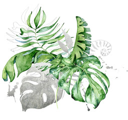 Tropical watercolor flowers and leaves. Exotic bouquet isolated on white background.