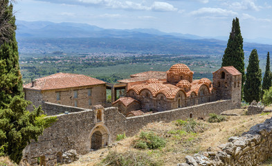 The Byzantine Metropolitan Church of Hagios Demetrios and the archaeological museum in Mystras, Peloponnese, Greece.
