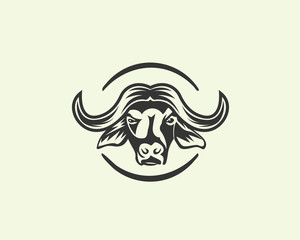 Head buffalo with circle logo design inspiration