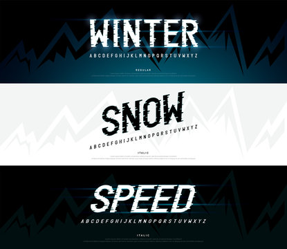 winter, snow modern alphabet fonts. typography regular and italic font uppercase wind, ice concept. vector illustration
