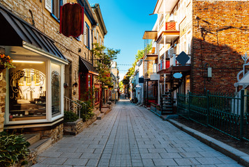 Rue du Petit Champlain at Lower Town (Basse-Ville) in Old Quebec City, Quebec, Canada Wall mural