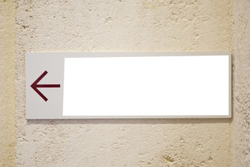 empty blanck wall space sign with arrow sign
