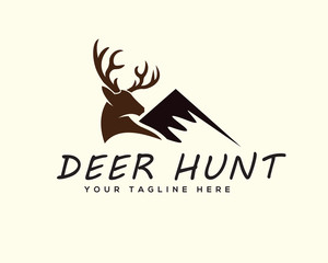 Deer with mountain logo design inspiration