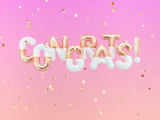 Congrats text with golden confetti. Congratulations banner. 3d rendering