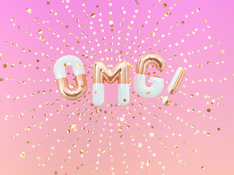 OMG exclamation word letters golden burst confetti, foil balloon text. 3d rendering