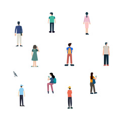 Crowd of people outdoor activities with bird.people standing or waiting on white background. Group of male and female flat cartoon characters isolated on white background.people set Vector