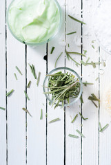 cut lavender leaves on white wooden