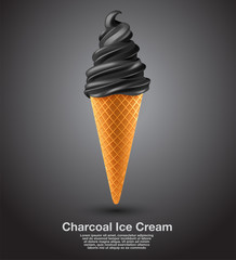 Charcoal : Flavored Soft Ice cream Set : Vector Illustration