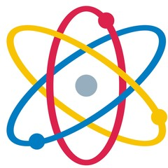 Atom Particle Vector Icon, colored symbol