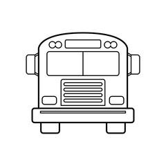 Icono plano lineal autobús vintage vista frontal en color negro