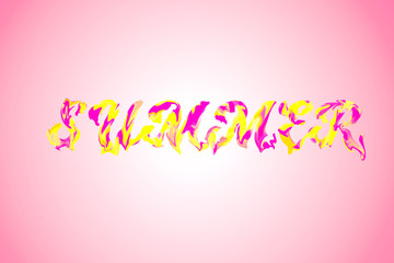 Pink bright lettering calligraphic on yellow and pink gradient. Phrase Summer