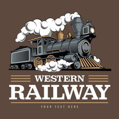 Vintage steam train locomotive, engraving style vector illustration. Logo design template.