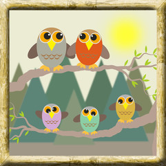 framed picture of an owl familie