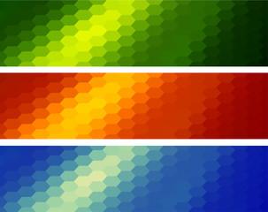 Mosaic banners set, hexagonal pattern backgrounds.