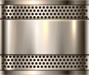 Silver metal background, shiny metallic chrome plate.