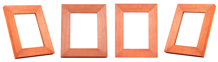 GROUP of Brown Wood Frames isolated on white background. BROWN WOOD FRAME on WHITE BACKGROUND.