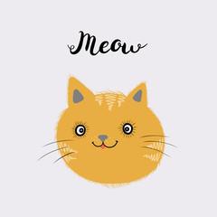 Fotobehang Illustraties Little ginger kitten. Meow text. Vector isolated illustration