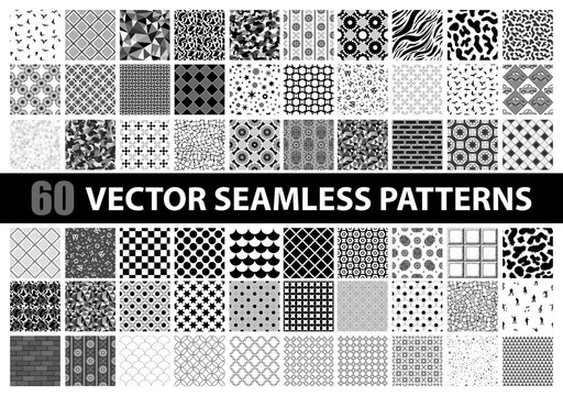 Mega pack of 60 black and white vector seamless detailed patterns: abstract, vintage, retro, animals, cloth, technology and geometric. Vector illustration