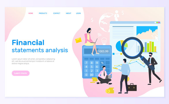Financial statement analysis vector, statistical graphics and calculations. Web page and magnifier, diagram and chart, businessman and businesswoman. Website template landing page in flat