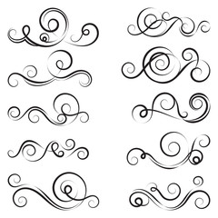Calligraphic black and elegant swirl dividers collection. Set of curls and scrolls for wall and page decoration, greeting cards and tattoos. Vector calligraphic design border elements illustration.