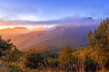 sunset at the Sierra de Tramontana mountains, mallorca, spain