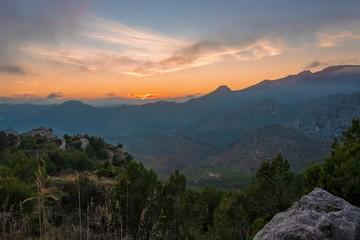 Tuinposter Bergen sunset at the Sierra de Tramontana mountains, mallorca, spain